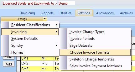 CareMaster  Invoice Formats